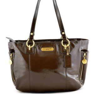 Coach Bag Gallery Zipper Brown Patent Leather